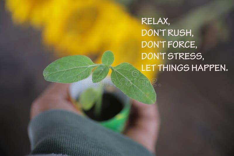 Guillemet de motivation inspirationnel - Relax Ne vous précipitez pas, ne forcez pas et ne stressez pas Que les choses se passent images libres de droits