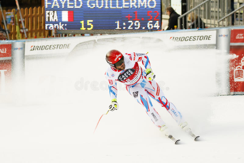 Guillermo ADAPTADO em FIS Ski World Cup alpino - o SUPER-G dos ?ns HOMENS fotografia de stock