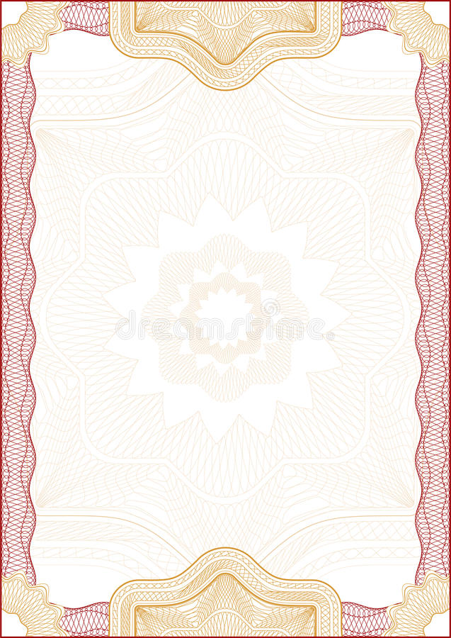 Guilloche border for diploma or certificate royalty free stock image