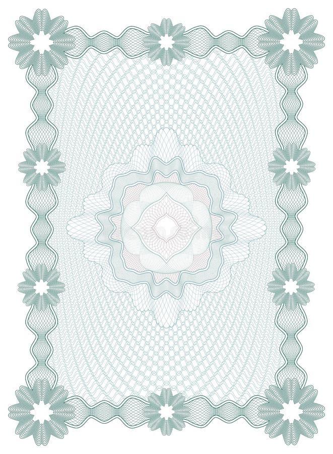 Guilloche Certificaat of diplomamalplaatje, achtergrond, modern ontwerp Vector illustratie stock illustratie