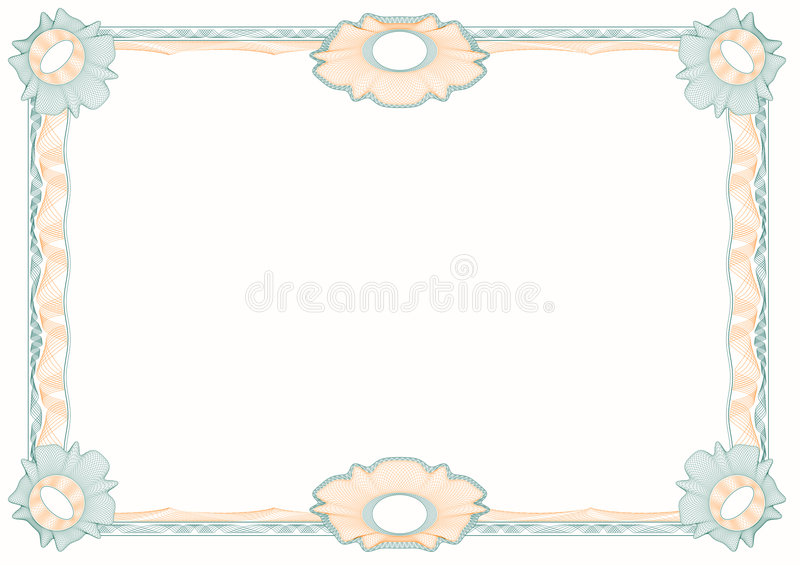 Guilloche: classic decorative frame with rosettes stock illustration