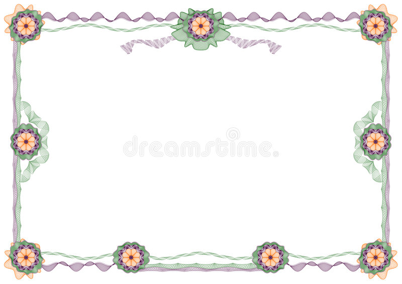 Guilloche: classic decorative frame with rosettes vector illustration