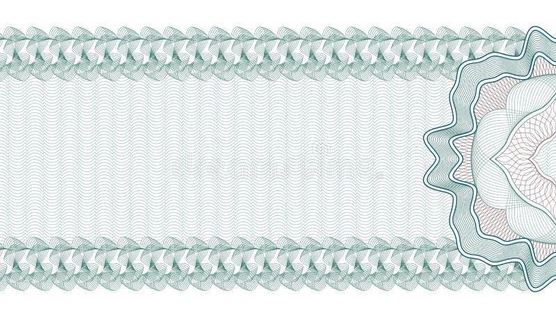 Guilloche-Hintergrund für Gutschein, Beleg oder Banknote, Schablone lizenzfreie abbildung