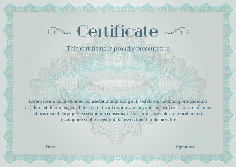 Guilloche Marques d'eau Modèles pour un certificat ou un diplôme modèle vert azur pour le diplôme ou le certificat illustration de vecteur