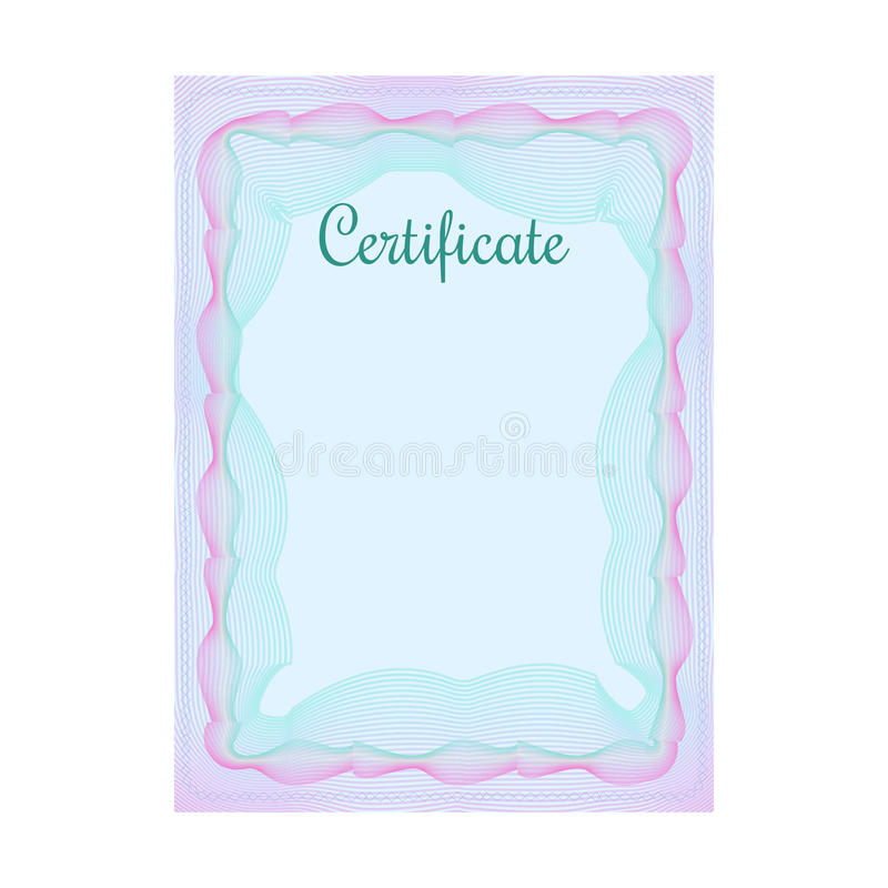 guilloche official blue certificate with frame stock vector