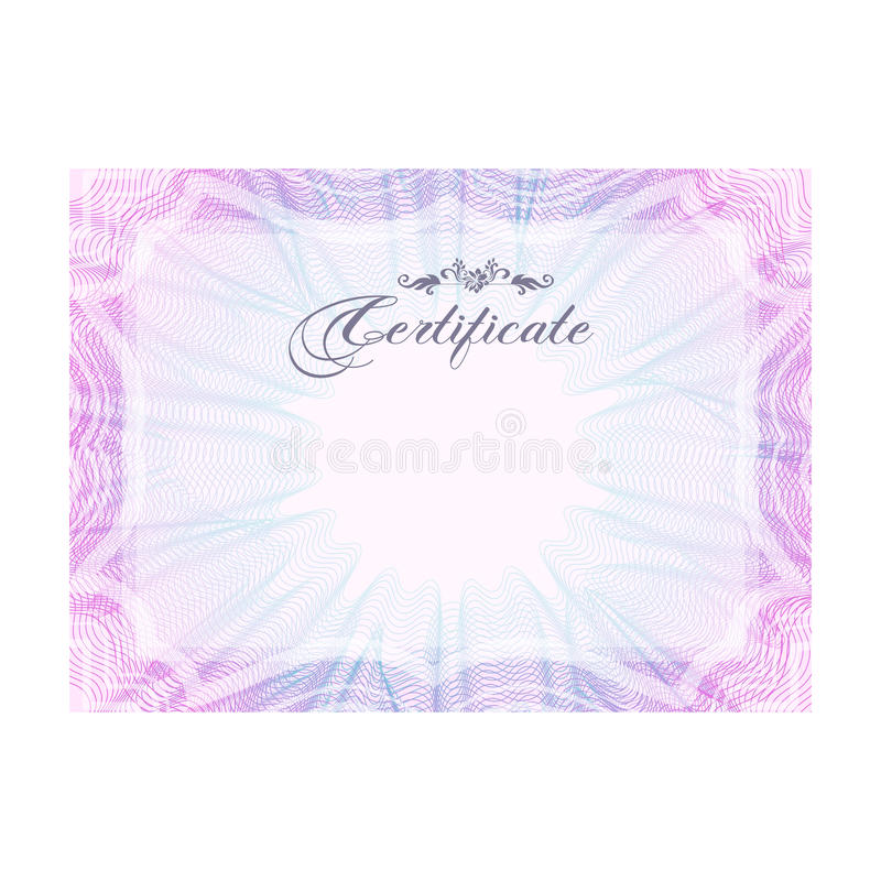 Guilloche Official Pink Certificate With Frame, Horizontal Stock ...
