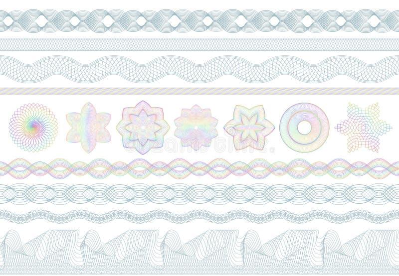 Guilloche patronen De veiligheid van het bankgeld, bankbiljetten naadloze gravure en bankwezen veilige grens Beschermend bankbilj vector illustratie