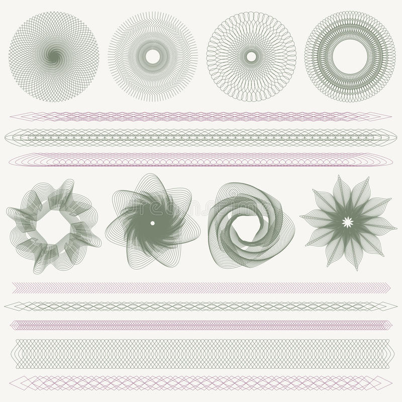 Guilloche pattern, watermarks, borders (currency). Set (collection) of colorful watermarks and borders. Guilloche pattern (line elements) for money design