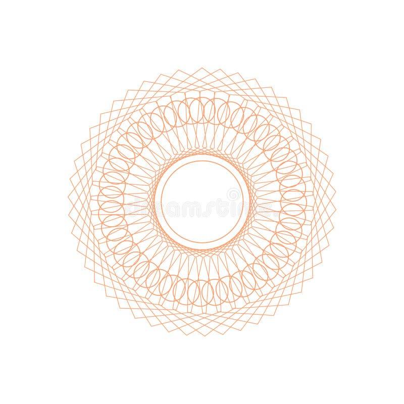 Guilloche-Rosette Sign Color Thin Line-Ikone Vektor lizenzfreie abbildung