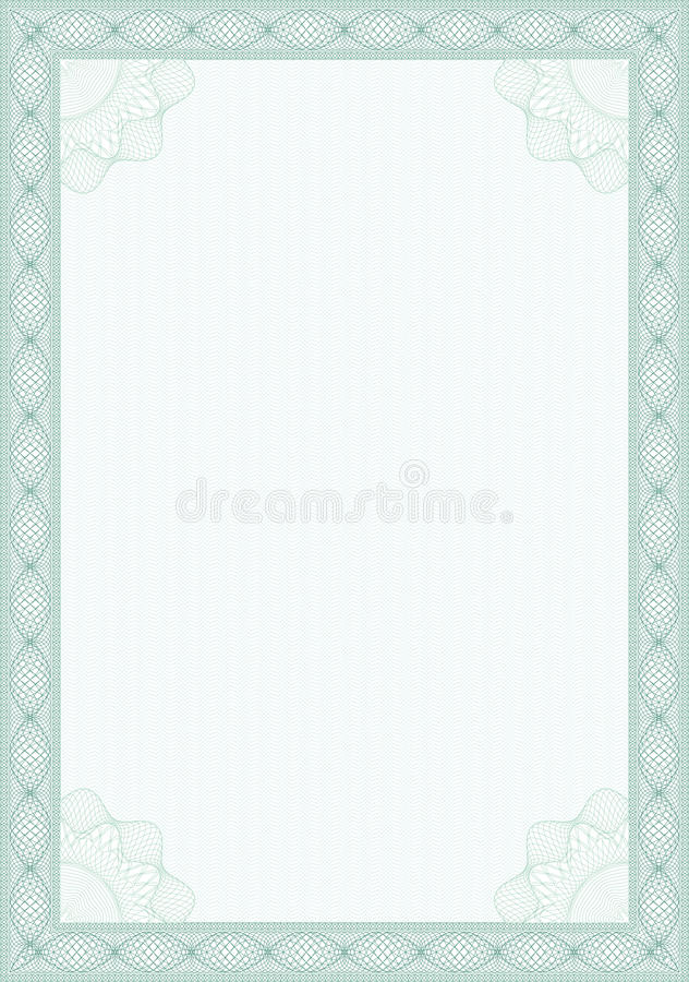 Guilloche style form for diploma or certificate stock illustration