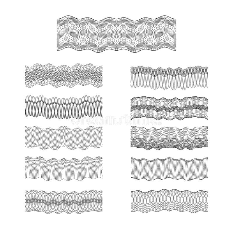 Guilloche vector borders set engraving money pattern texture royalty free illustration
