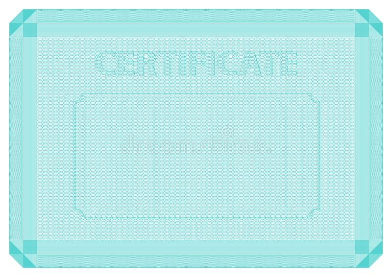 Guilloche vector template for certificate. Moire background with frame, border and watermark. stock illustration