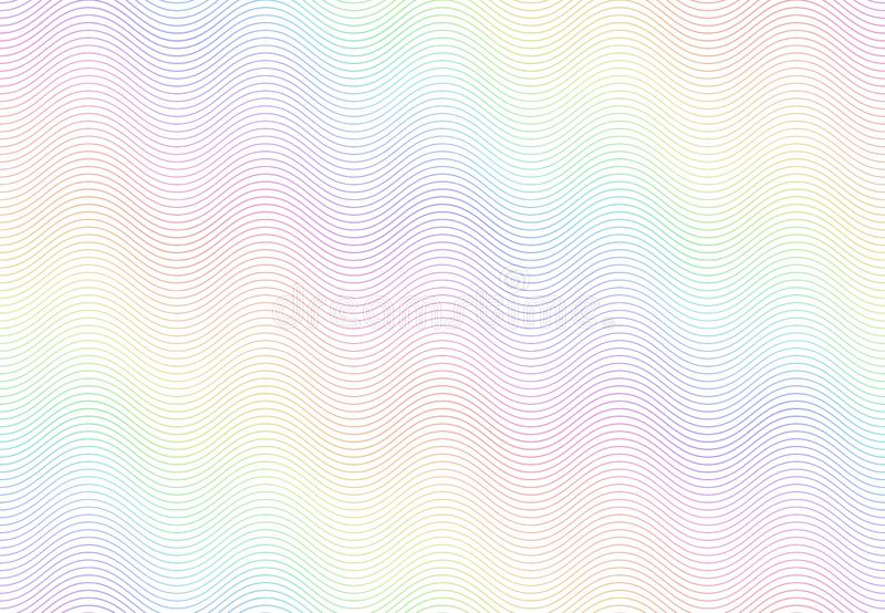Guilloche watermark texture. Textured passport paper, banknote secure rainbow pattern and color line waves vector stock illustration