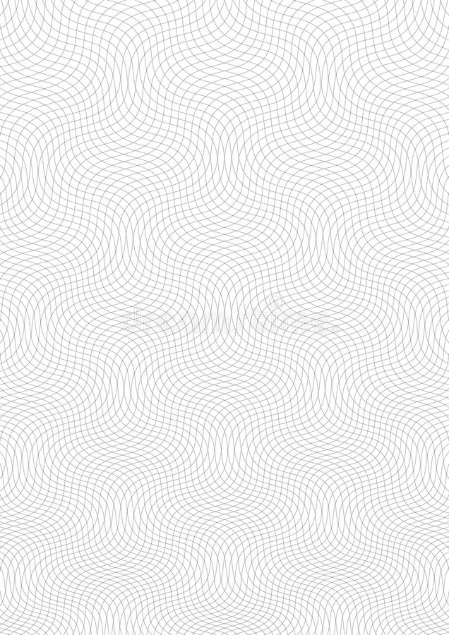 Guillochebakgrund En enkel modell med krabba linjer Moireprydnad, guillochetextur med vågor Säkerhetsdesign royaltyfri illustrationer