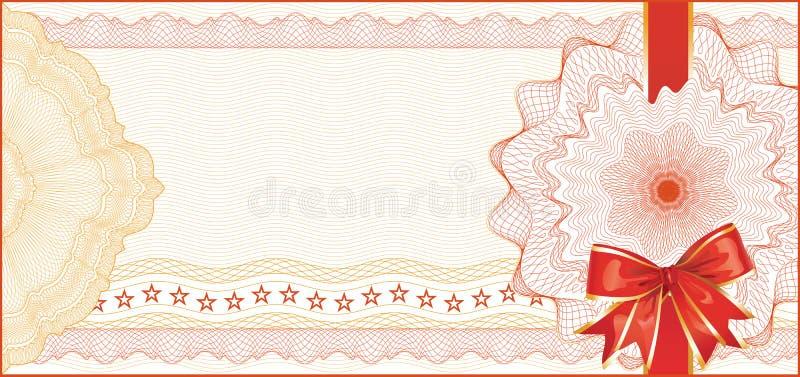 Guillochebakgrund för presentkort stock illustrationer