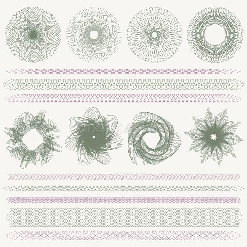 Guillochemodellen, vattenstämplar, gränsar (valuta) royaltyfri illustrationer