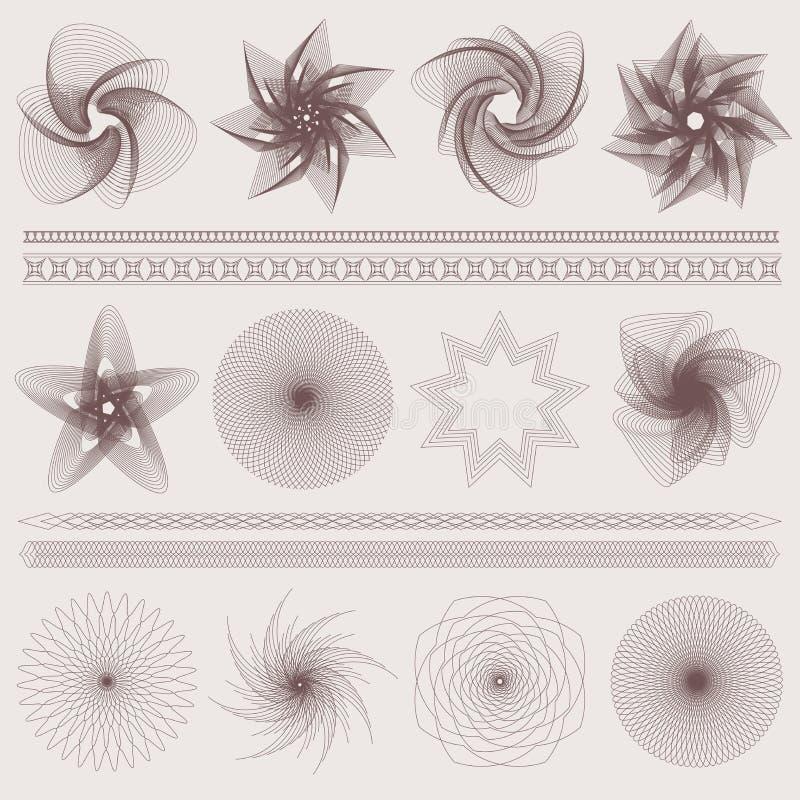 Guillochemodellen, vattenstämplar, gränsar (valuta) stock illustrationer