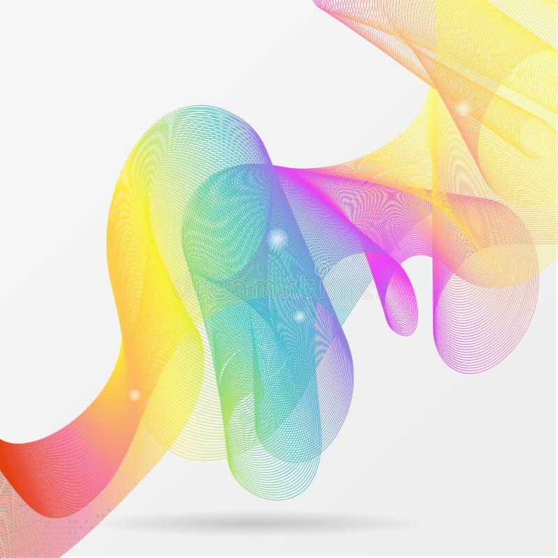 Guillocheregnbågevågor som göras av färgrik linje för lutningljusblandning abstrakt bakgrundsvektor vektor illustrationer