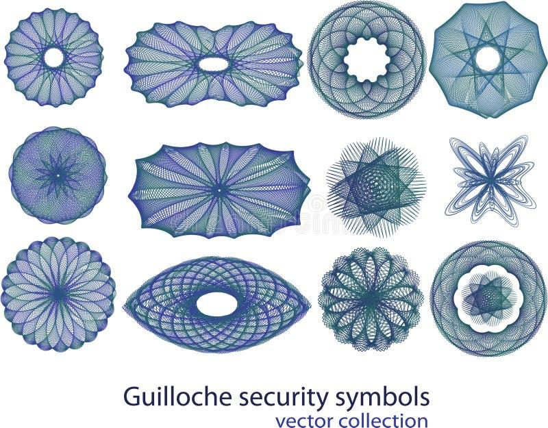 Guillochesicherheits-Symbolansammlung stock abbildung