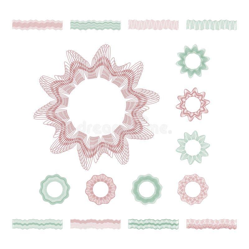 Guillochestichlinien, Geldsicherheit fasst dekorative Elemente des Vektors ein vektor abbildung