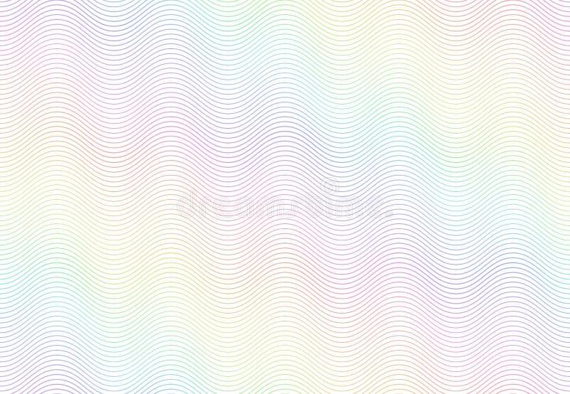 Guillochewasserzeichenbeschaffenheit Strukturiertes Passpapier, sicheres Regenbogenmuster der Banknote und Farbliniewellenvektor stock abbildung
