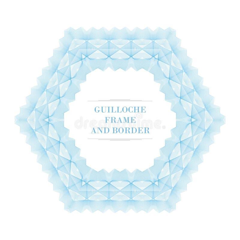 Guilloquis clásico con diseño del vector del estilo del hexágono ilustración del vector