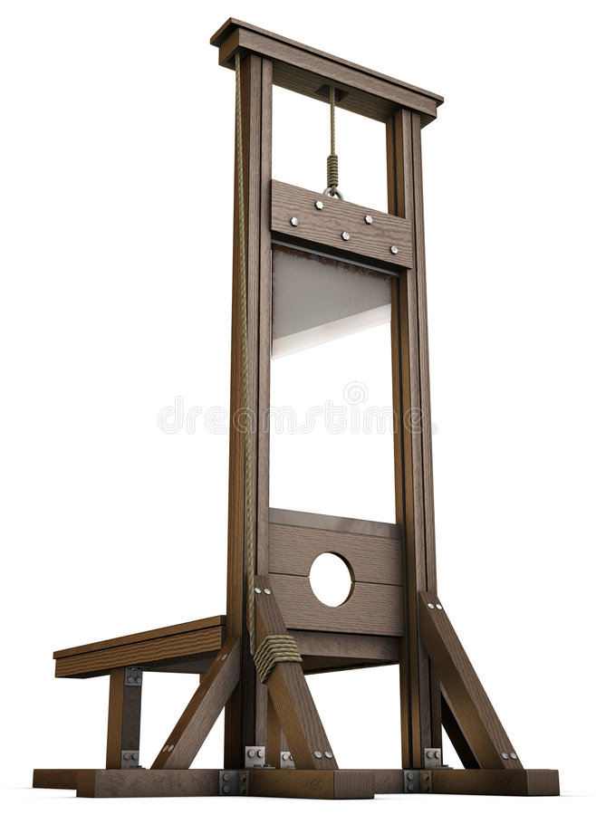 Guillotine. An Empty Guillotine rendered from the ground over a white background