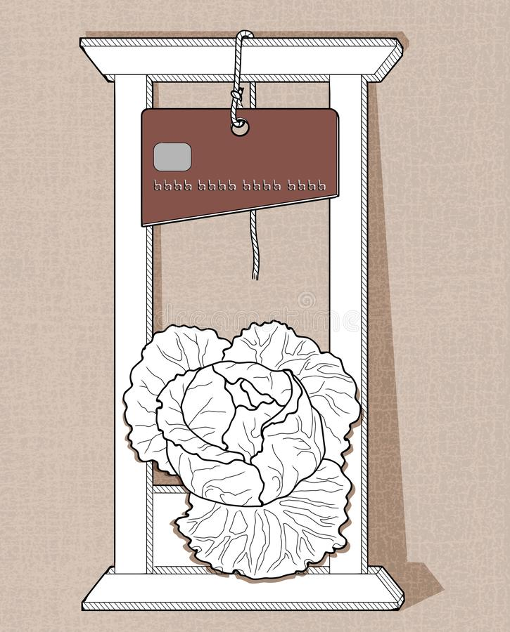 Guillotine de crédit La guillotine blanche avec un couteau sous forme de carte de crédit coupe la tête du chou illustration de vecteur