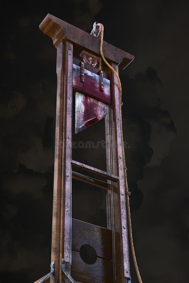 Guillotine, peine de mort, prisonnier, d'isolement photographie stock libre de droits