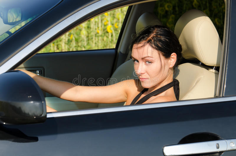 Guilty driver with no seatbelt stock images