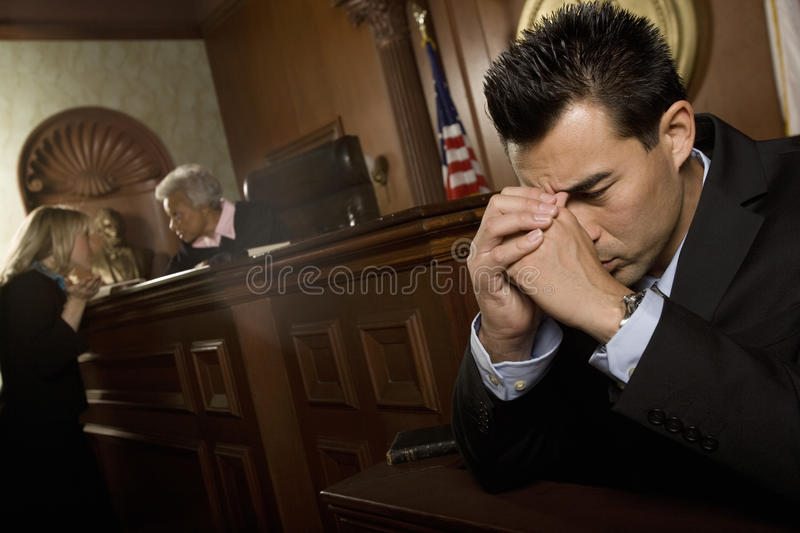 Guilty Man In Court Room royalty free stock photography