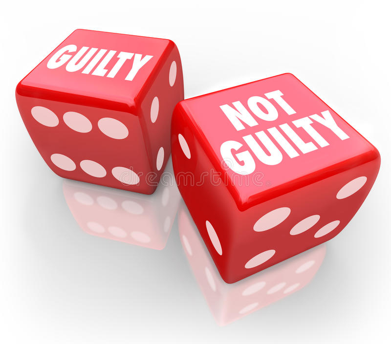 Guilty or Not 2 Red Dice Innocent Judgment Verdict Taking Chance. Guilty or Not Guilty words on two red dice to illustrate being convicted or acquitted in a royalty free illustration