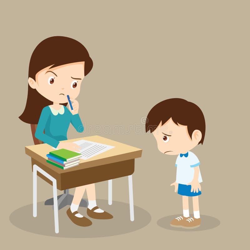 Guilty Student Boy And Teacher Stock Vector - Illustration ...