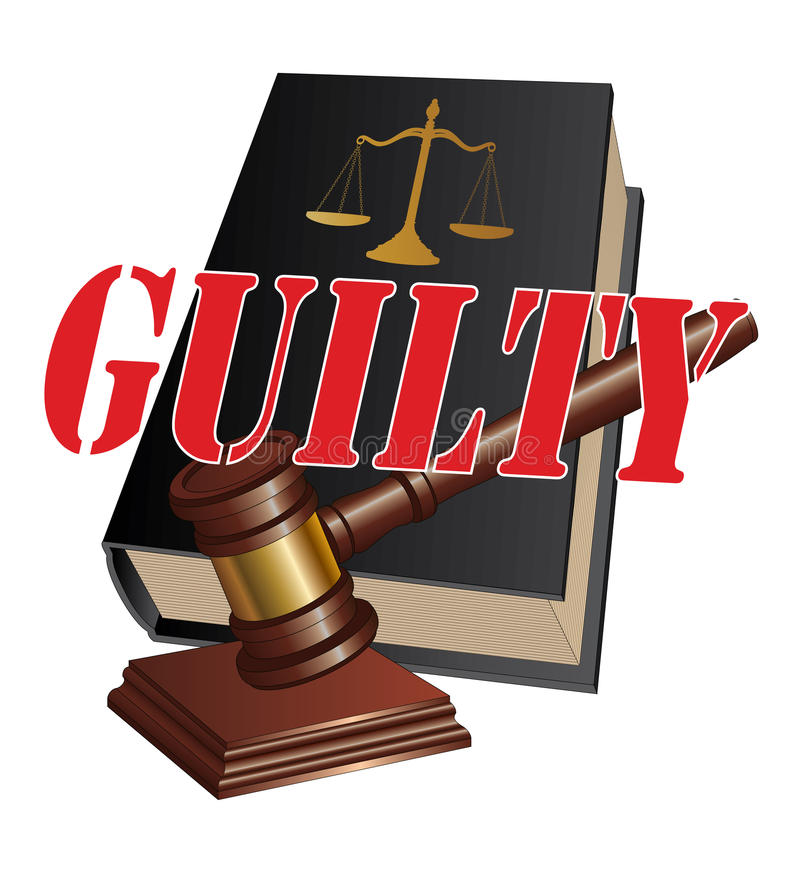 Guilty Verdict. Illustration of a design representing a guilty verdict as the outcome of legal proceedings in a court of law stock illustration