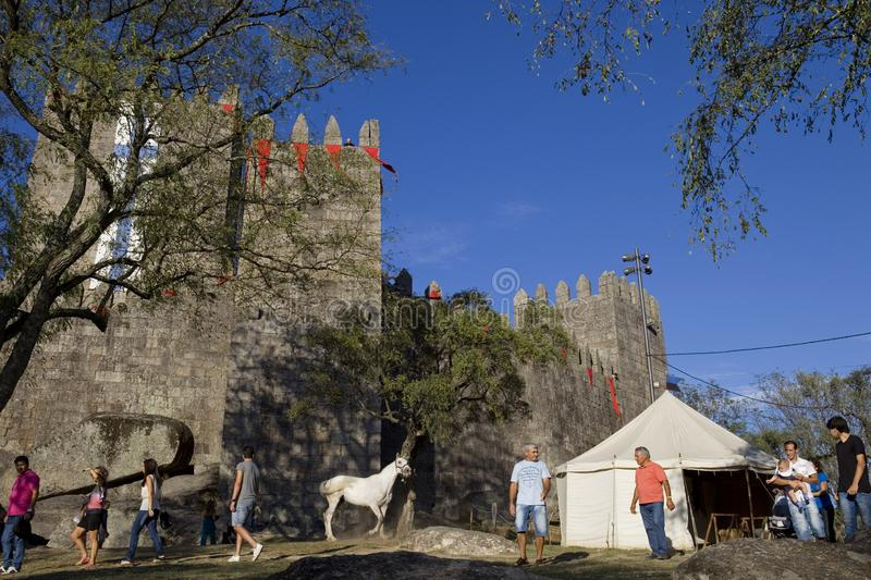 Guimaraes. PORTUGAL: Medieval themed fairs; arts, crafts, and activities centered around the Medieval period at FEIRA AFONSINA, in , Portugal royalty free stock photo