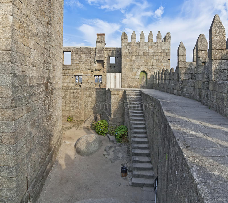 Guimaraes Kasteelbinnenland, Guimaraes, Portugal stock fotografie