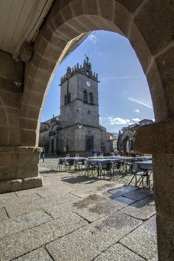 Salado Monument at Oliveira Square, in historic centre of Guimaraes, Portugal. stock images