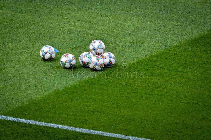 GUIMARAES, PORTUGAL - June 05, 2019: Official Fotball ball during the UEFA Nations League semi Finals match between national team. Switzerland and Netherlands royalty free stock photo