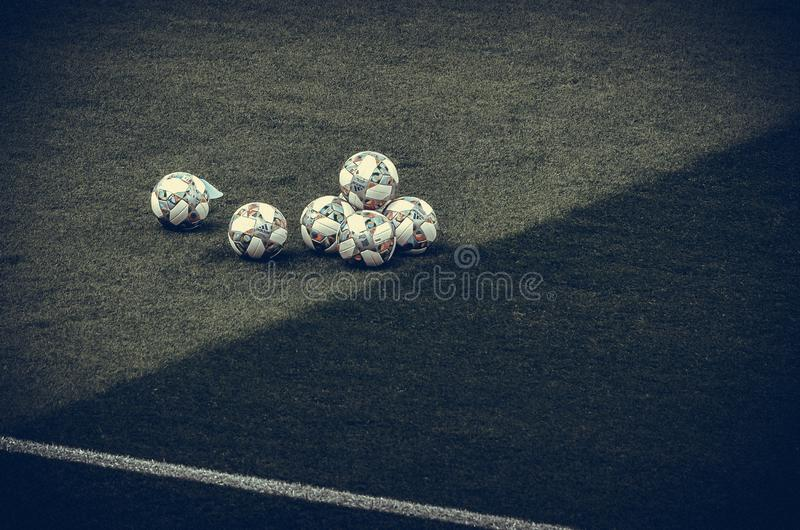 GUIMARAES, PORTUGAL - June 05, 2019: Official Fotball ball during the UEFA Nations League semi Finals match between national team. Switzerland and Netherlands stock images