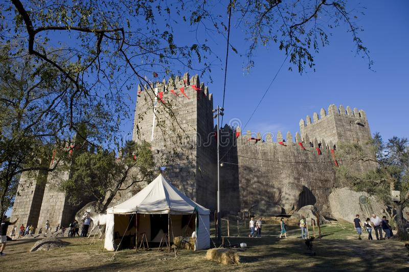 Guimaraes. PORTUGAL: Medieval themed fairs; arts, crafts, and activities centered around the Medieval period at FEIRA AFONSINA, in , Portugal royalty free stock photography