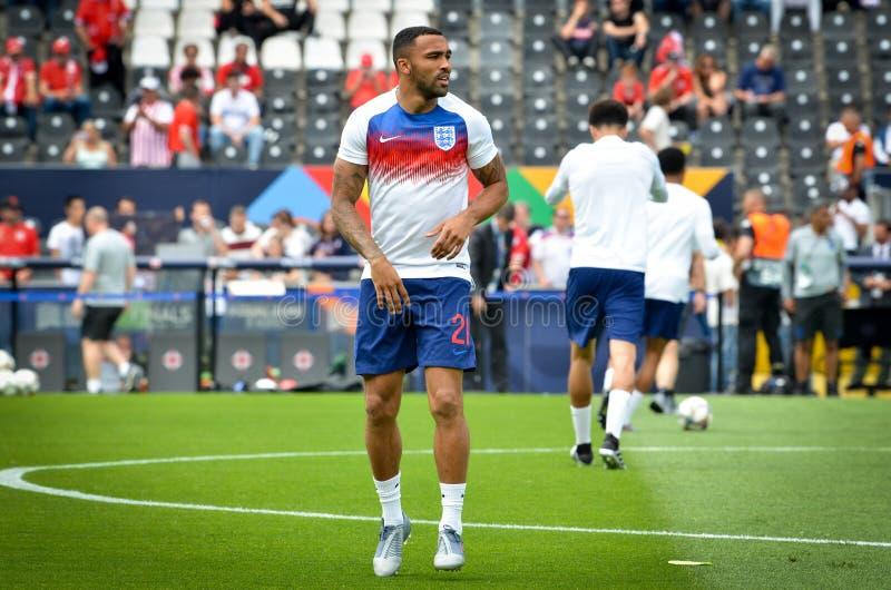 GUIMARAES, PORTUGLAL - 9 de junho de 2019: Callum Wilson durante o fósforo de finais da liga das nações do UEFA para o terceiro l imagem de stock royalty free