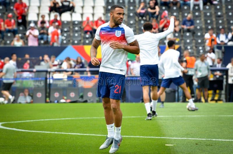 GUIMARAES, PORTUGLAL - 9 juin 2019 : Callum Wilson pendant le match de finales de ligue de nations de l'UEFA pour le troisième en images stock
