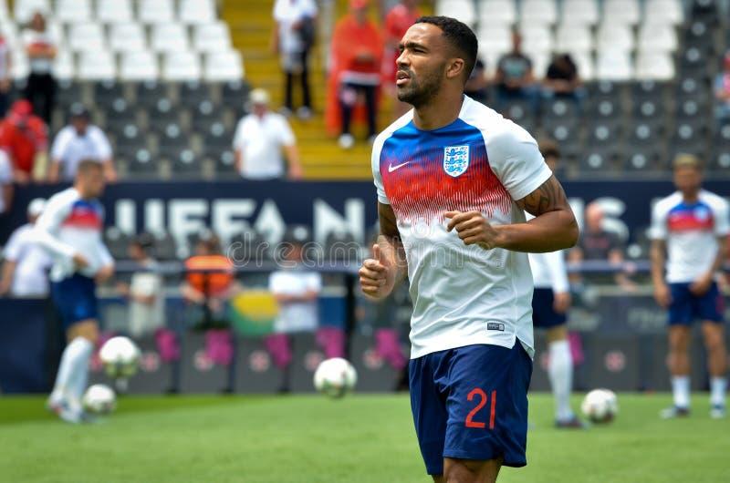 GUIMARAES, PORTUGLAL - 9 juin 2019 : Callum Wilson pendant le match de finales de ligue de nations de l'UEFA pour le troisième en photos stock