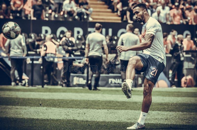 GUIMARAES, PORTUGLAL - 9 juin 2019 : Callum Wilson pendant le match de finales de ligue de nations de l'UEFA pour le troisième en images libres de droits