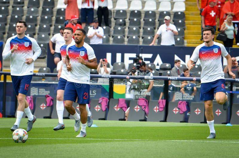 GUIMARAES, PORTUGLAL - 9 juin 2019 : Stage de formation d'équipe de football de l'Angleterre avant le match de finales de ligue d images libres de droits