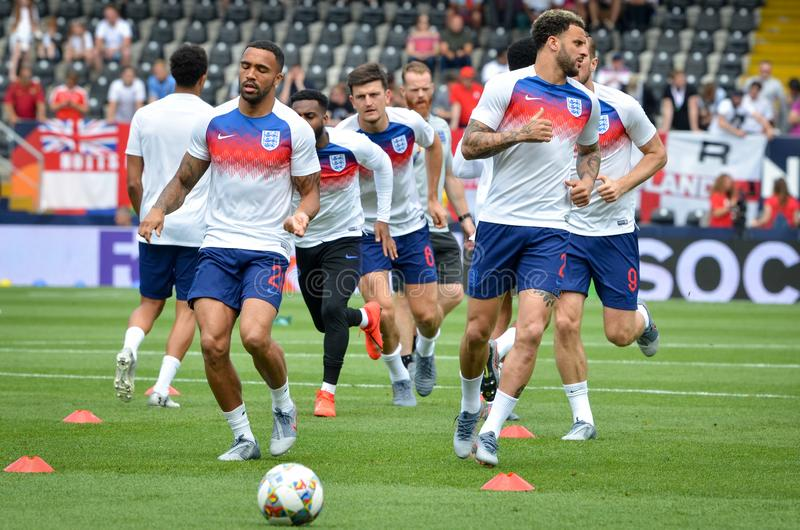 GUIMARAES, PORTUGLAL - 9 juin 2019 : Stage de formation d'équipe de football de l'Angleterre avant le match de finales de ligue d photos libres de droits