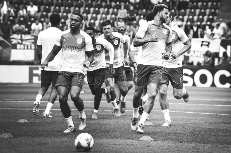 GUIMARAES, PORTUGLAL - 9 juin 2019 : Stage de formation d'équipe de football de l'Angleterre avant le match de finales de ligue d photo libre de droits
