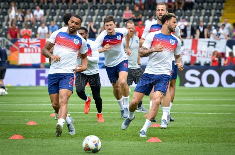 GUIMARAES, PORTUGLAL - 9 juin 2019 : Stage de formation d'équipe de football de l'Angleterre avant le match de finales de ligue d photographie stock