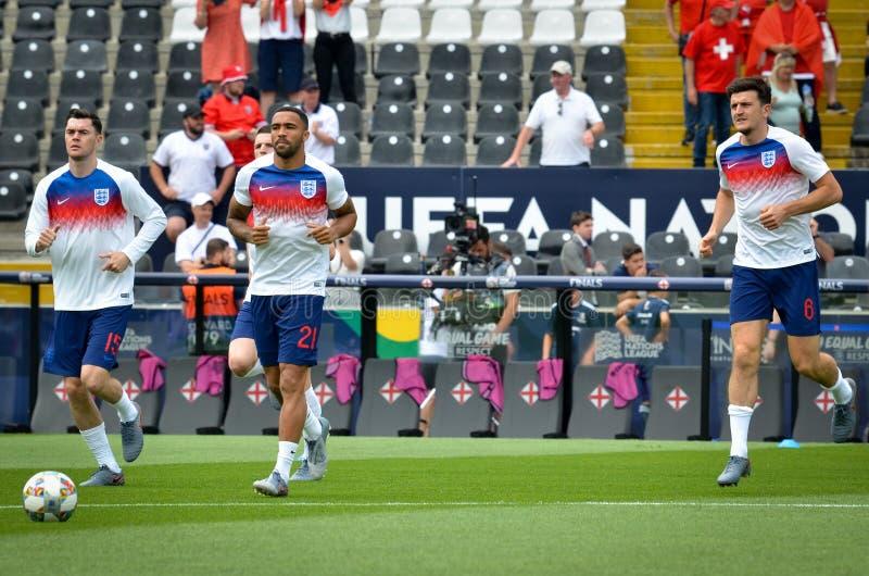 GUIMARAES, PORTUGLAL - 9 juin 2019 : Stage de formation d'équipe de football de l'Angleterre avant le match de finales de ligue d image stock