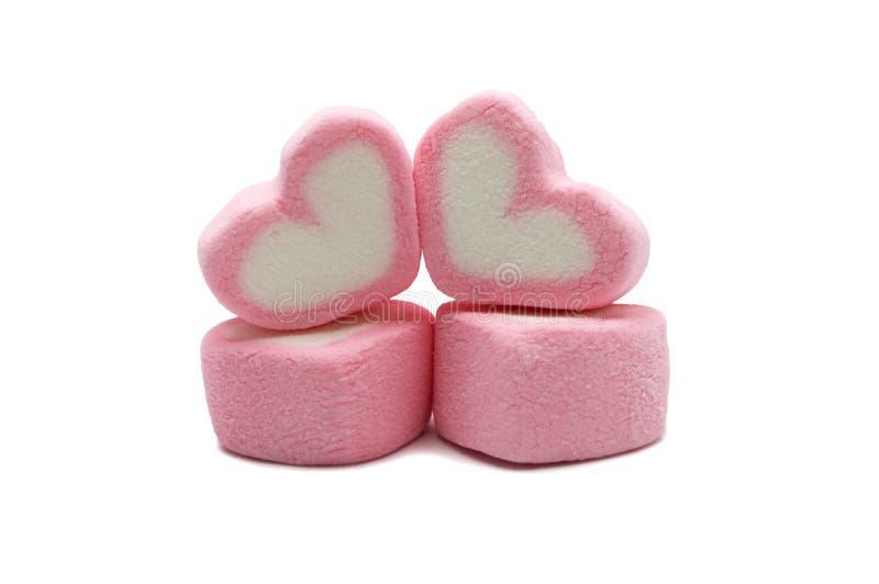 Guimauve rose de forme d'amoureux image stock